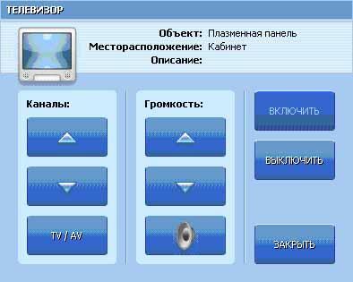 Рис. 6. Диалоговое окно управления плазменной панелью.